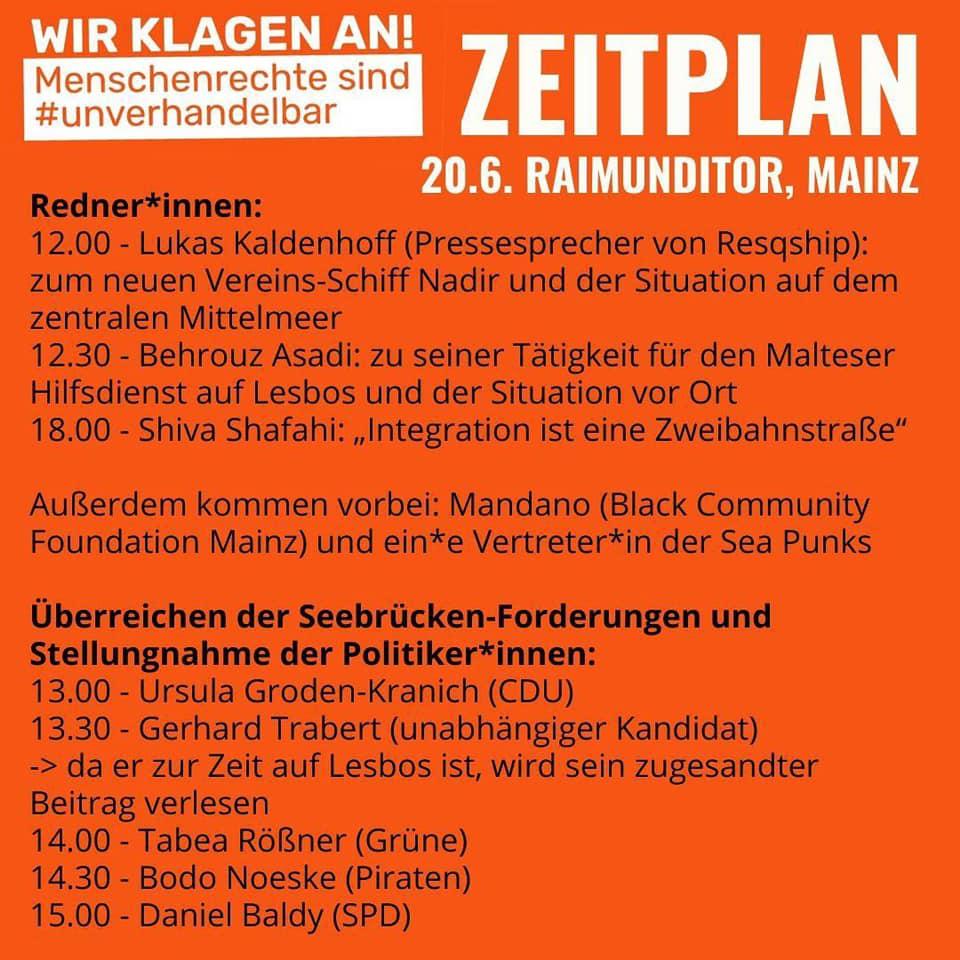 """Zeitplan zu einer Veranstaltung in mainz mit dem Thema """"Menschenrechte sind unverhandelbar""""."""