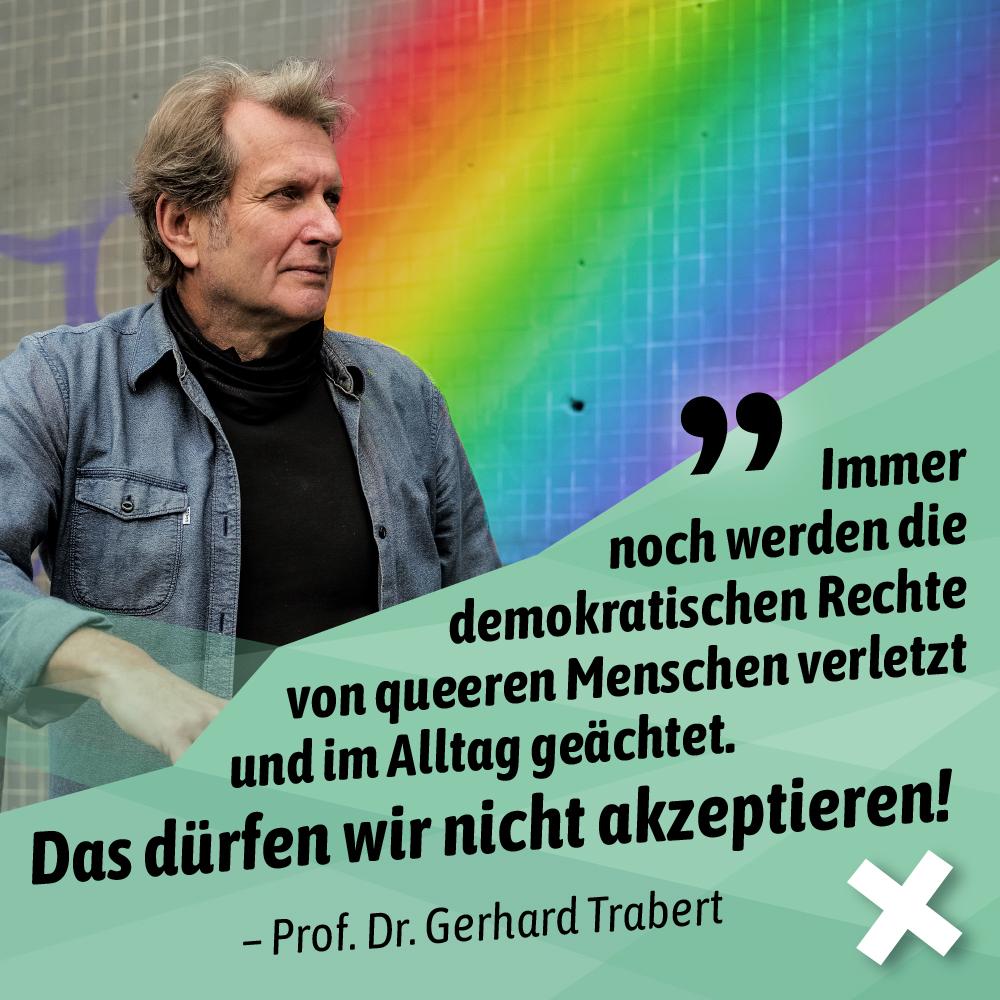 Prof. Dr. Tarbert vor Regenbogenwand. Darunter Claim zu Rechten von queeren Menschen.