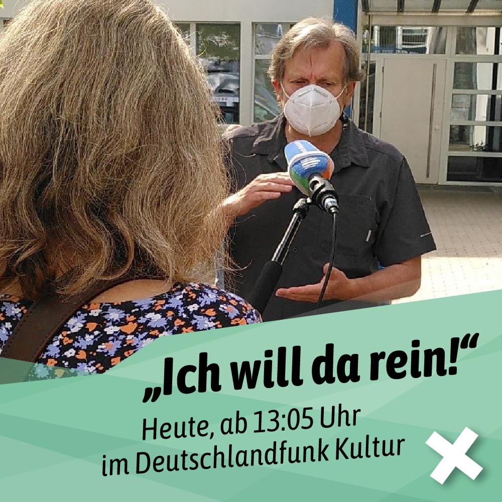 Bild von Prof. Dr. Tarbert mit Maske beim Interview mit dem Deutschlandfunk.