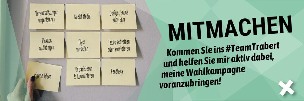 """Team Trabert: Bild mit neun verschiedenen Post-Its and einer Wand und daneben der Aufruf """"Mitmachen"""""""