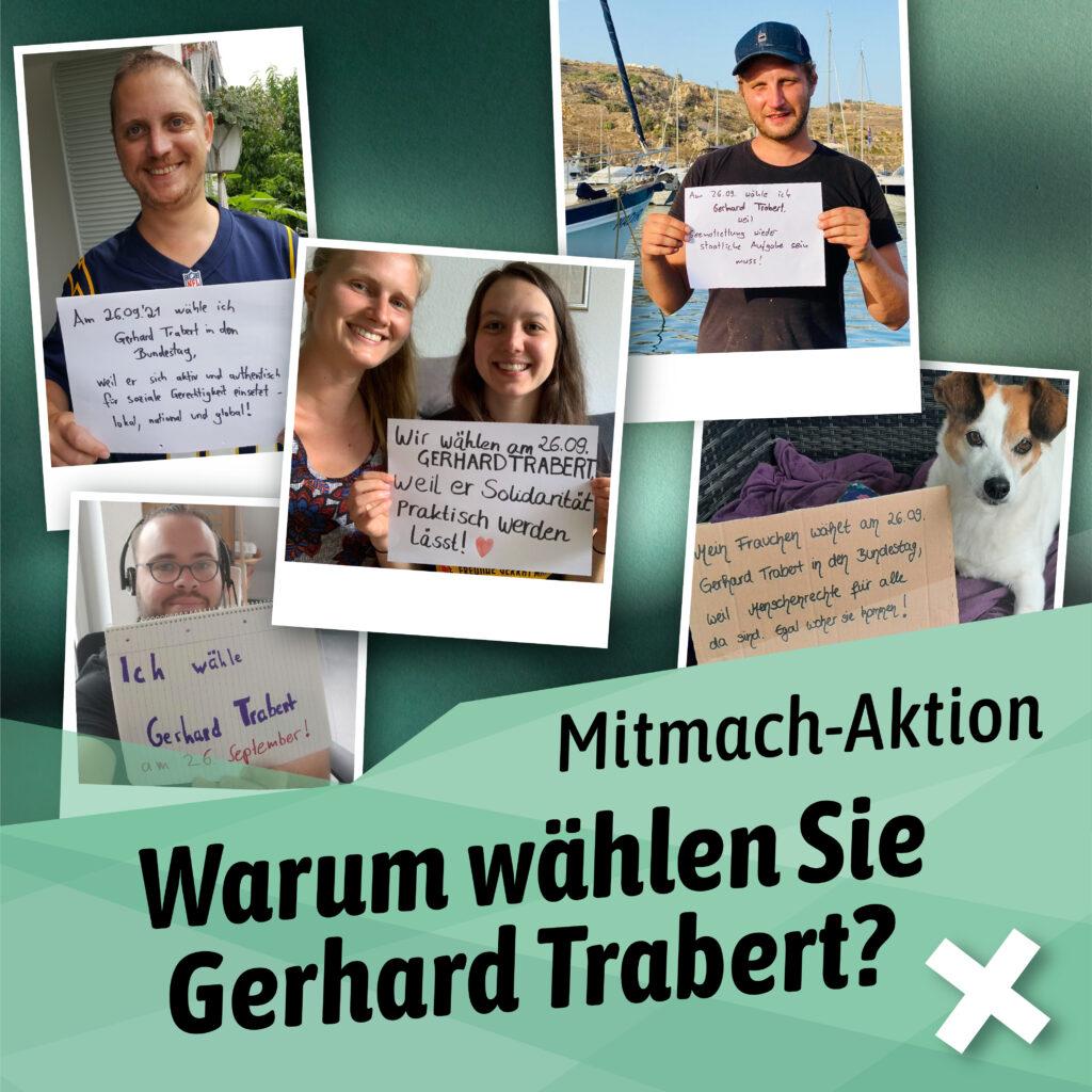 Mitmacht-Aktion: Trabert wählen! Flyer mit Menschen und einem Hund, die selbstgemachte Plakate halten.