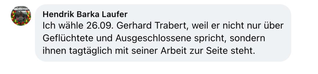 Mitmach-Aktion: Trabert wählen! Screenshot eines Posts.