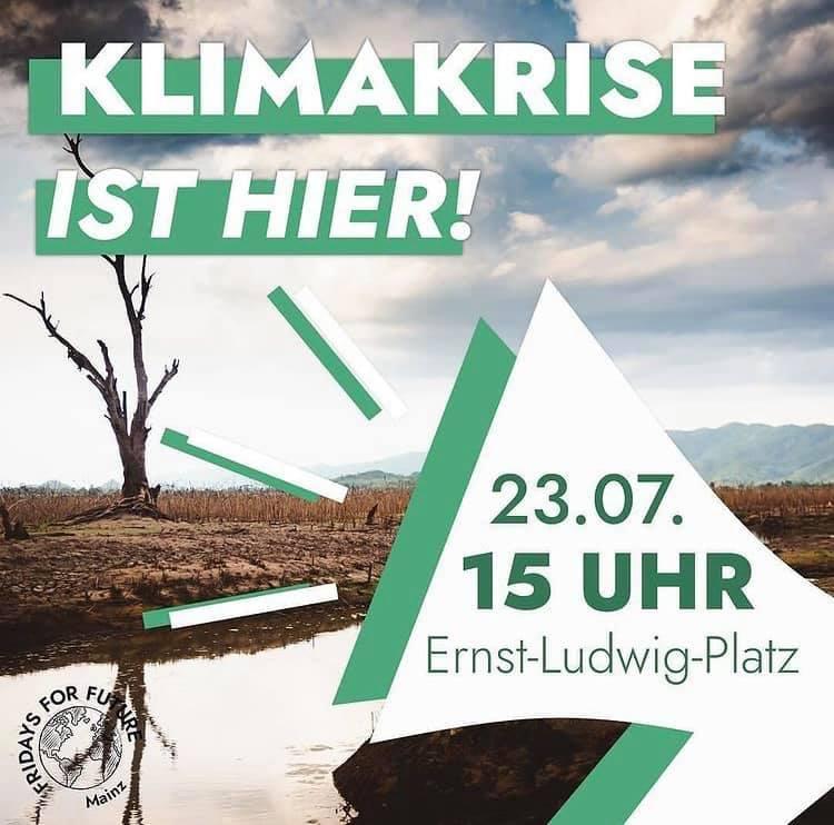 Flyer Klimakrise mit Datum zur Veranstaltung.
