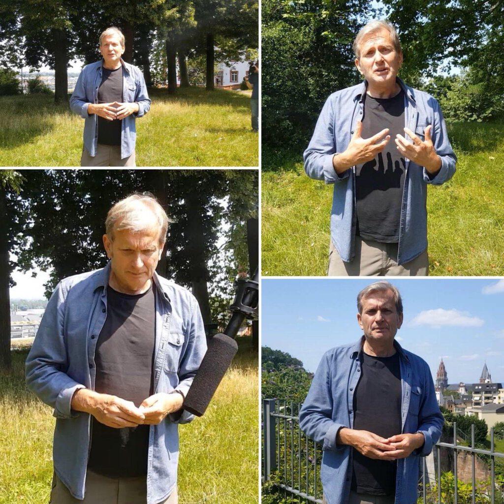 Vier Fotos von Prof. Dr. Gerhard Trabert während eines Interviews in Mainz.