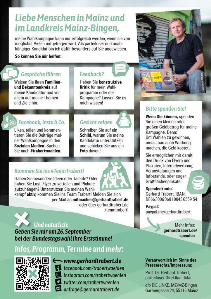 Flyer Prof. Dr. Trabert - Kampagne